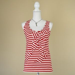 Kate Spade Red Striped & Slanted Bow Tank Top